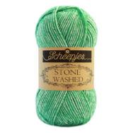 Scheepjes Stone Washed 826 Forsterite - zöld pamut fonal - green cotton yarn
