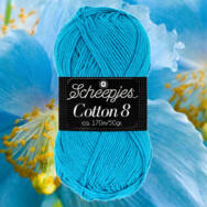 Scheepjes Cotton8 563 vivid blue - élénk kék pamut fonal  - cotton yarn