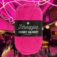 Scheepjes Chunky Monkey 1257 Hot Pink - neon rózsaszín akril fonal - red acrylic yarn - kep 2
