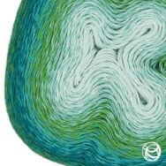 Scheepjes Woolly Whirl 475 - Melting Mint Centre - pamut-gyapjú fonal - yarn cake