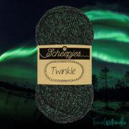 Scheepjes Twinkle 903 - csillogó fekete-zöld pamut fonal - glittering black-green cotton yarn