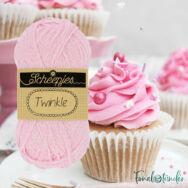 Scheepjes Twinkle 925 - csillogó rózsaszín pamut fonal - glittering light-pink cotton yarn