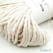 MILA Sznur cotton cord - light beige pearl glitter - pamut zsinórfonal - világos drapp gyöngyház fénnyel - 3mm - 02