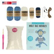 Milo a Majom - horgolásminta + fonal csomag - Amigurumi - Milo the Monkey - crochet diy kit