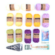 Citrom-Lila Vadvirág - crochet diy kit - fonal+eszköz csomag