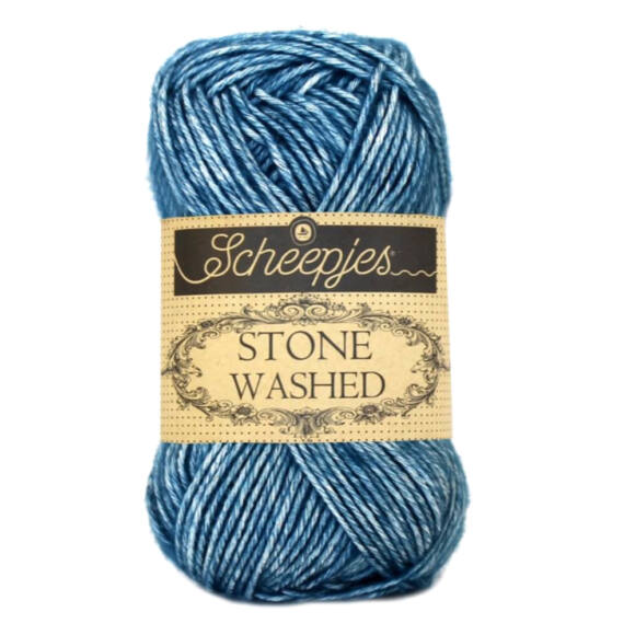 Scheepjes Stone Washed 805 Blue Apatite - kék pamut keverék fonal