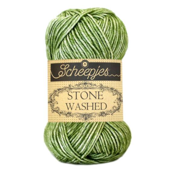 Scheepjes Stone Washed 806 Canadian Jade - jade zöld pamut keverék fonal