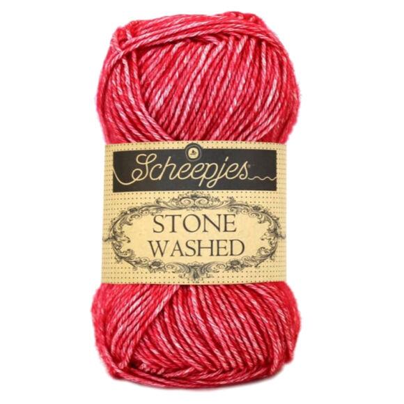 Scheepjes Stone Washed 807 Red Jasper - vörös pamut keverék fonal