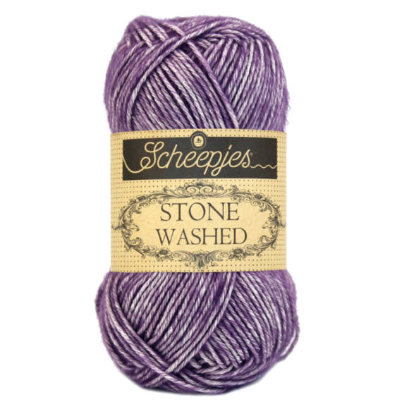 Scheepjes Stone Washed 811 Deep Amethyst - lila pamut fonal - purple cotton yarn
