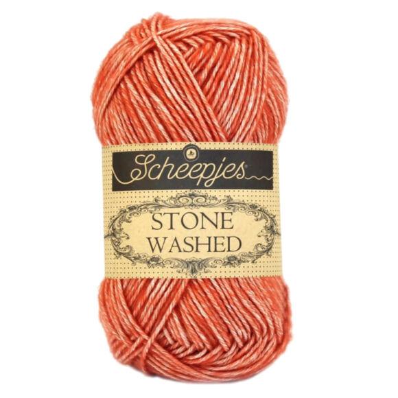Scheepjes Stone Washed 816 Coral - korallpiros pamut keverék fonal