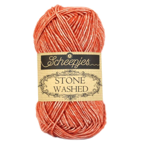 Scheepjes Stone Washed 816 Coral - korallpiros pamut fonal - red cotton yarn