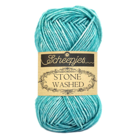 Scheepjes Stone Washed 824 Turquoise -  türkizkék pamut keverék fonal