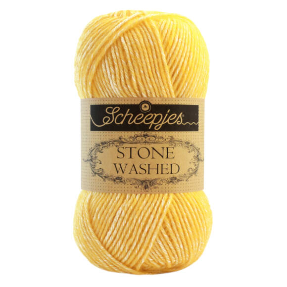 Scheepjes Stone Washed 833 Beryl - sárga pamut keverék fonal