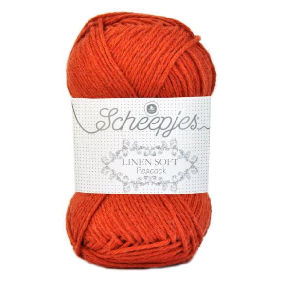 Scheepjes Linen Soft 609 - vérnarancs színű len tartalmú fonal