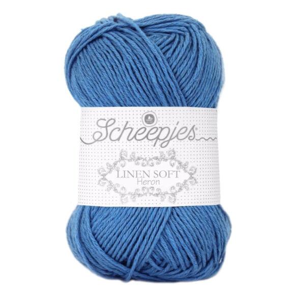 Scheepjes Linen Soft 615 - égkék len tartalmú fonal