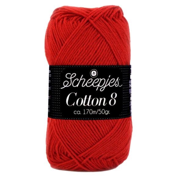 Scheepjes Cotton8 - 510 - piros pamut fonal