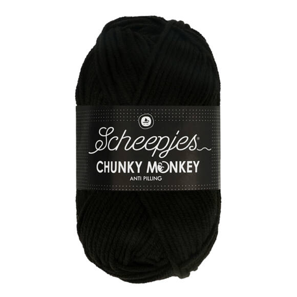 Scheepjes Chunky Monkey 1002 Black - fekete akril fonal