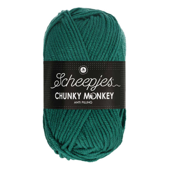 Scheepjes Chunky Monkey 1062 Evergreen - hideg zöld akril fonal - cool-green acrylic yarn