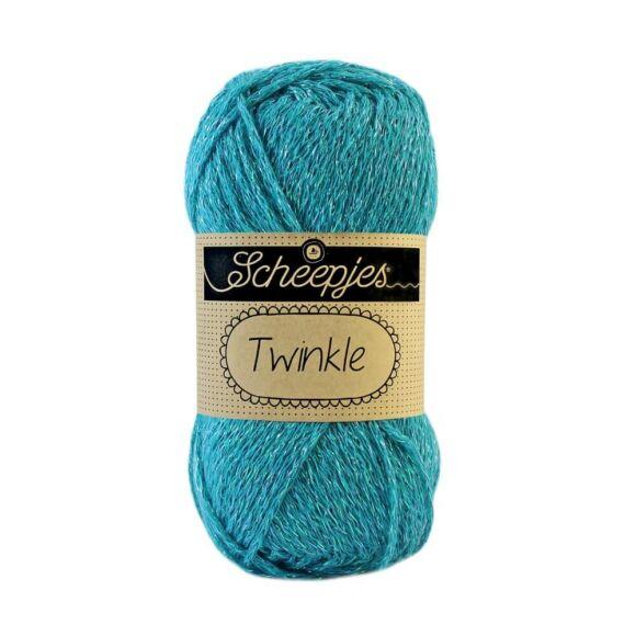 Scheepjes Twinkle 920 - csillogó türkizkék pamut fonal - glittering turquoise-blue cotton yarn