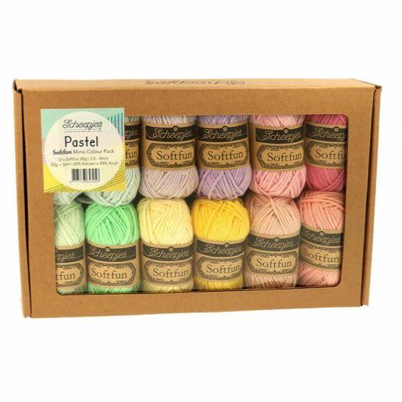 Scheepjes Softfun Color Pack - Pastel - 12 gombolyag fonal  - 12 balls of yarn