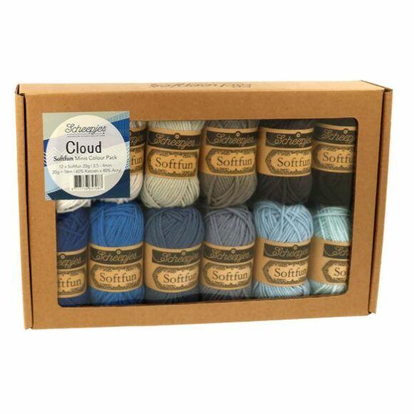 Scheepjes Softfun Color Pack - Cloud - 12 gombolyag fonal  - 12 balls of yarn