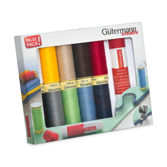 Gütermann - varrócérna készlet - textil ragasztóval