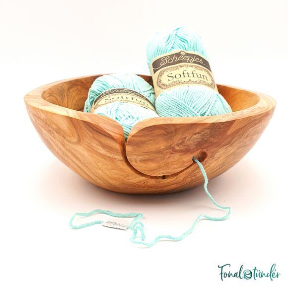 Kézműves Cseresznyefa Fonalvezető Tál - Handmade Wooden Yarn Bowl