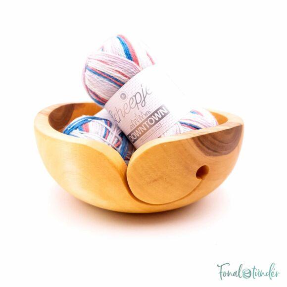 Kézműves Diófa Fonalvezető Tál - Handmade Wooden Yarn Bowl - 19cm