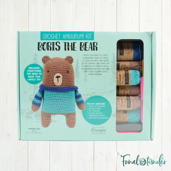 Borisz a Medve - horgolásminta + fonal csomag - Amigurumi - Boris the Bear - crochet diy kit