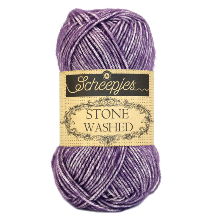 Scheepjes Stone Washed 811 Deep Amethyst - lila pamut fonal - purple cotton yarn