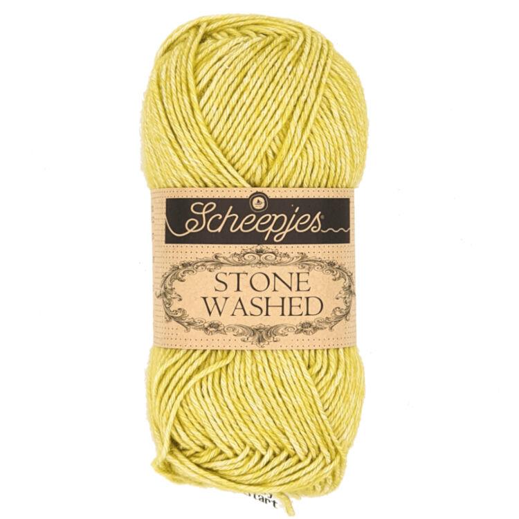 Scheepjes Stone Washed 812 Lemon Quartz - citromzöld pamut fonal - green cotton yarn