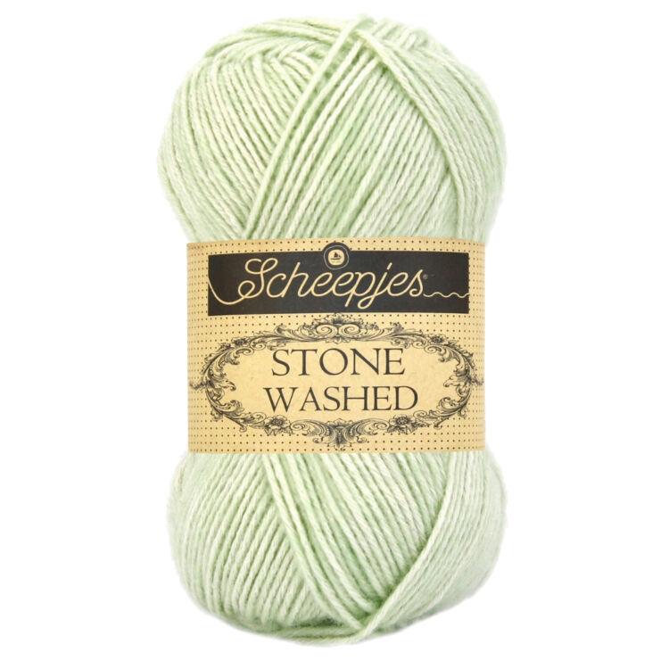 Scheepjes Stone Washed 819 New Jade - halvány zöld pamut fonal - light green cotton yarn