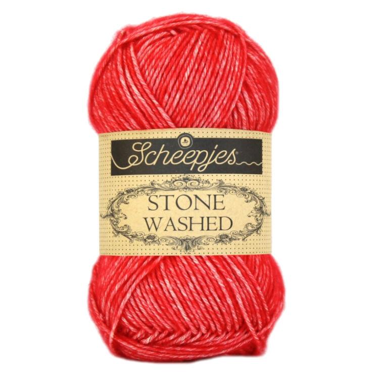 Scheepjes Stone Washed 823 Carnelian - piros pamut fonal - red cotton yarn