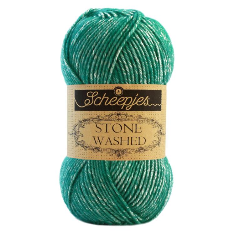 Scheepjes Stone Washed 825 Malachite - zöld pamut fonal - green cotton yarn