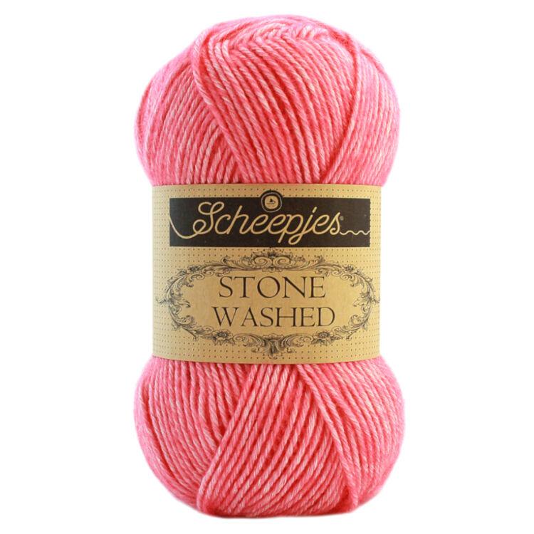 Scheepjes Stone Washed 820 Rhodochrosite - rózsaszín pamut fonal - pink cotton yarn