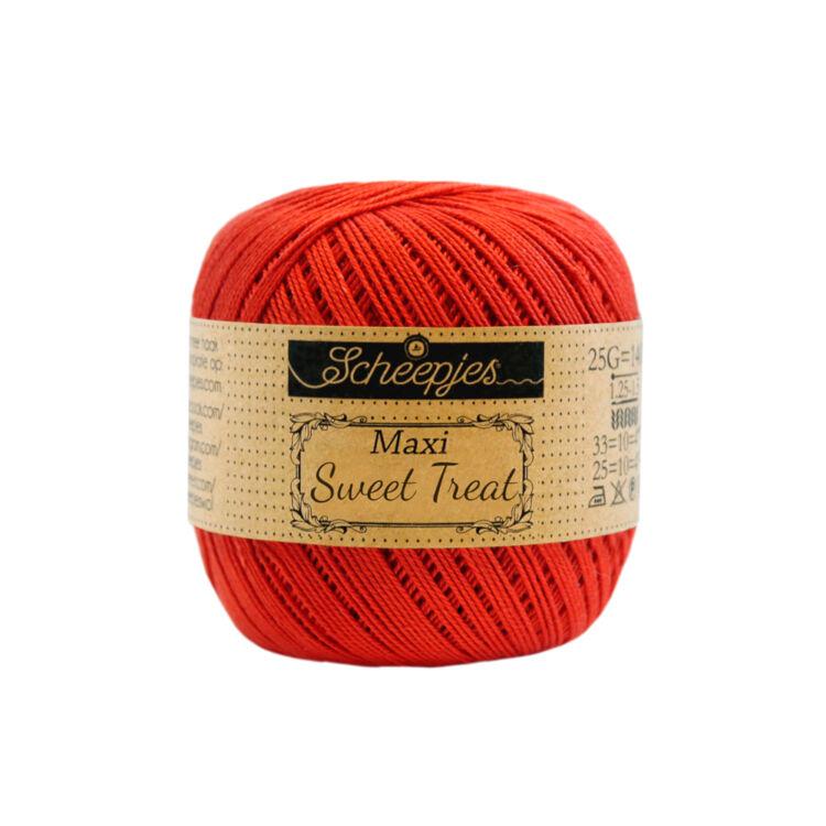 Scheepjes Maxi Sweet Treat 390 Poppy Rose - pipacs piros pamut fonal  - red cotton yarn