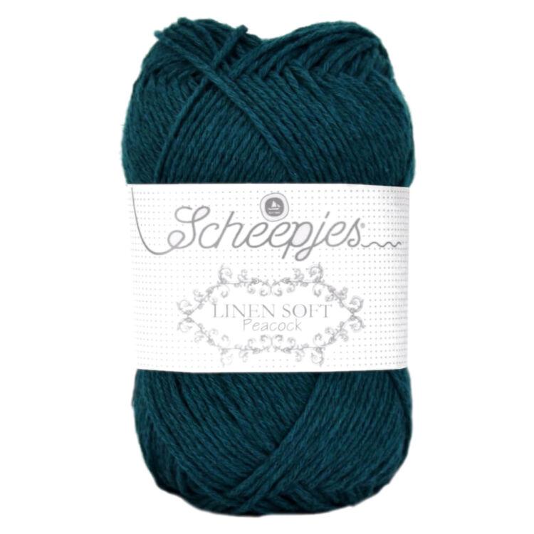 Scheepjes Linen Soft 607 - deep greenish-blue - sötét zöldes-kék len keverék fonal - yarn blend