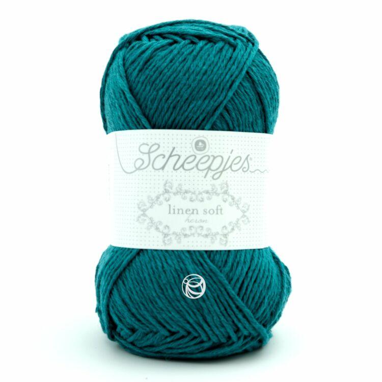 Scheepjes Linen Soft 608 turquoise - türkiz len keverék fonal - yarn blend