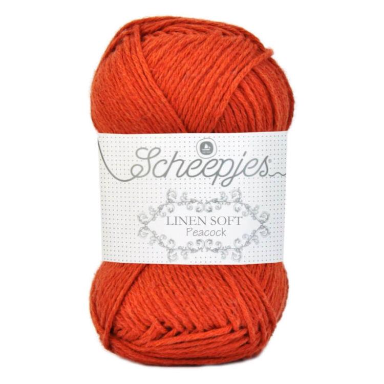 Scheepjes Linen Soft 609 - orange-red - narancspiros - len keverék fonal - yarn blend