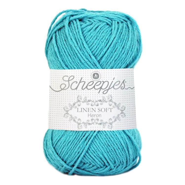 Scheepjes Linen Soft 614 - azure blue - azúr kék - len keverék fonal - yarn blend