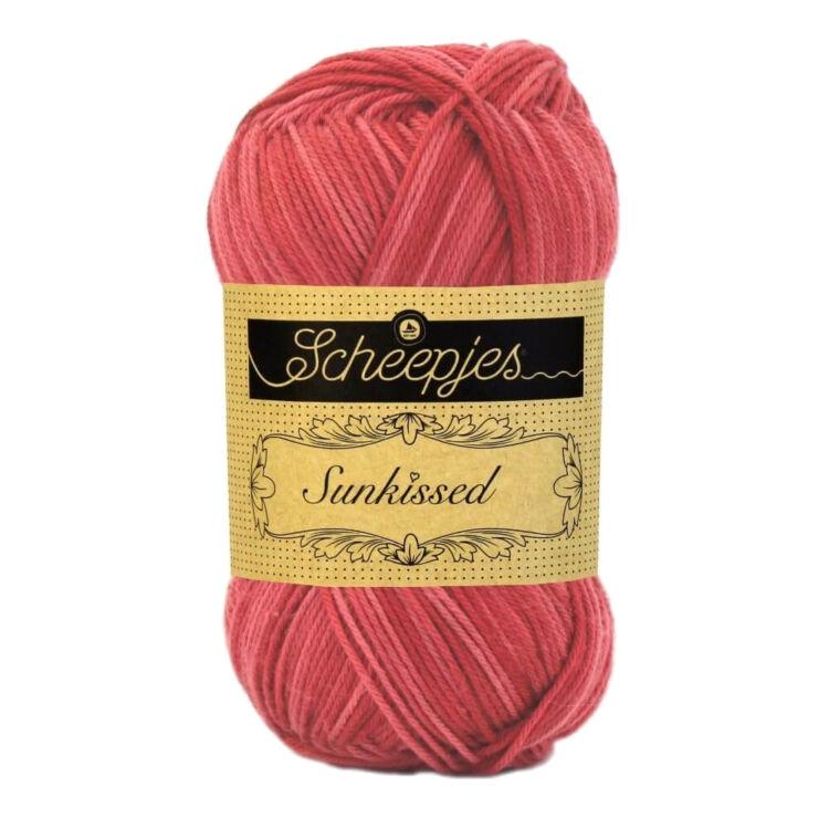 Scheepjes Sunkissed 13 Cherry Ice - red - piros pamut fonal  - cotton yarn