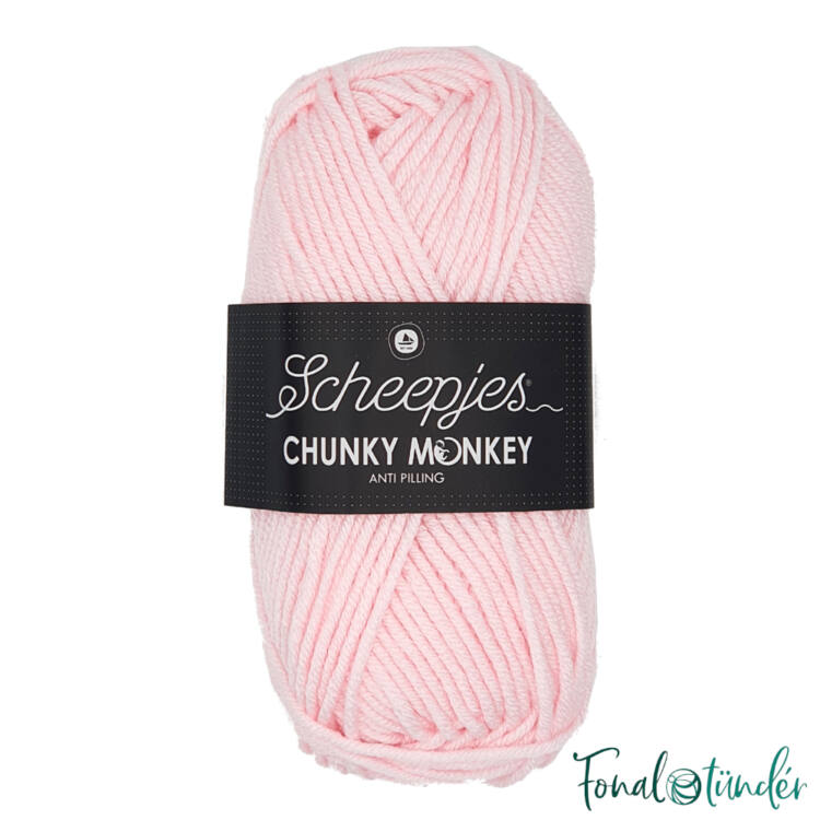 Scheepjes Chunky Monkey 1240 Baby Pink - halvány babarózsaszín akril fonal - light pink acrylic yarn