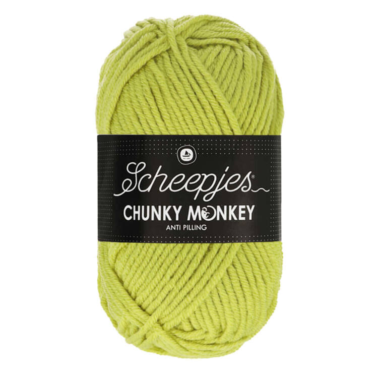 Scheepjes Chunky Monkey 1822 Chartreuse - sárgás-zöld akril fonal - yellowish-green acrylic yarn