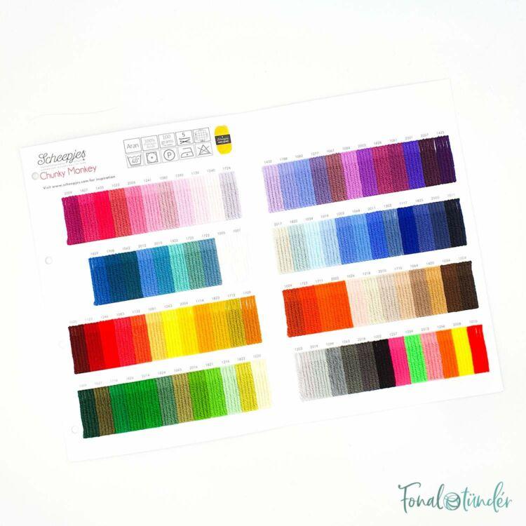 Scheepjes Chunky Monkey - Color Sample Card - Színpaletta