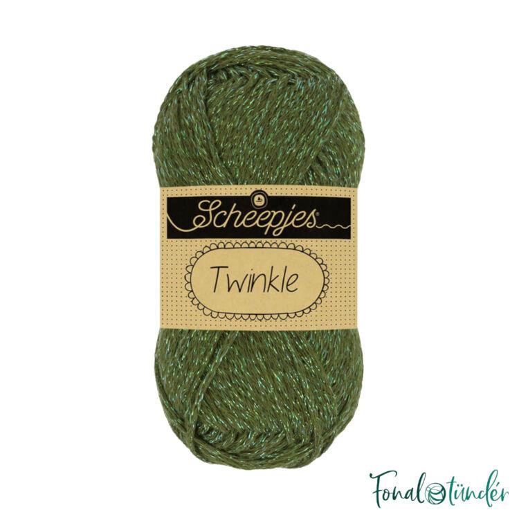 Scheepjes Twinkle 931 - csillogó zöld pamut fonal - glittering green cotton yarn