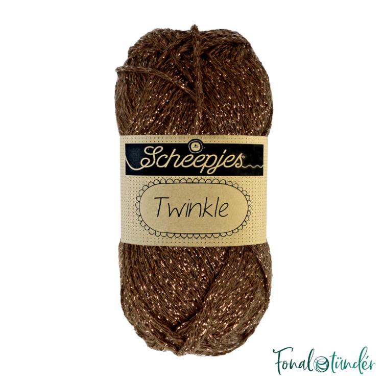 Scheepjes Twinkle 939 - csillogó csokibarna pamut fonal - glittering brown cotton yarn