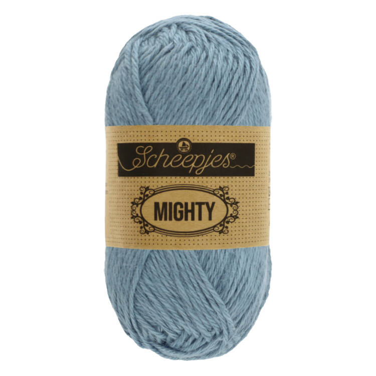 Scheepjes Mighty 756 River - szürkés-kék pamut-juta fonal - light blue yarn