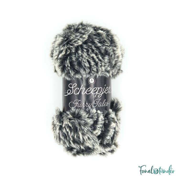 Scheepjes Furry Tales 981 Wicked Witch - sötétszürke bundás fonal - dark gray fluffy yarn