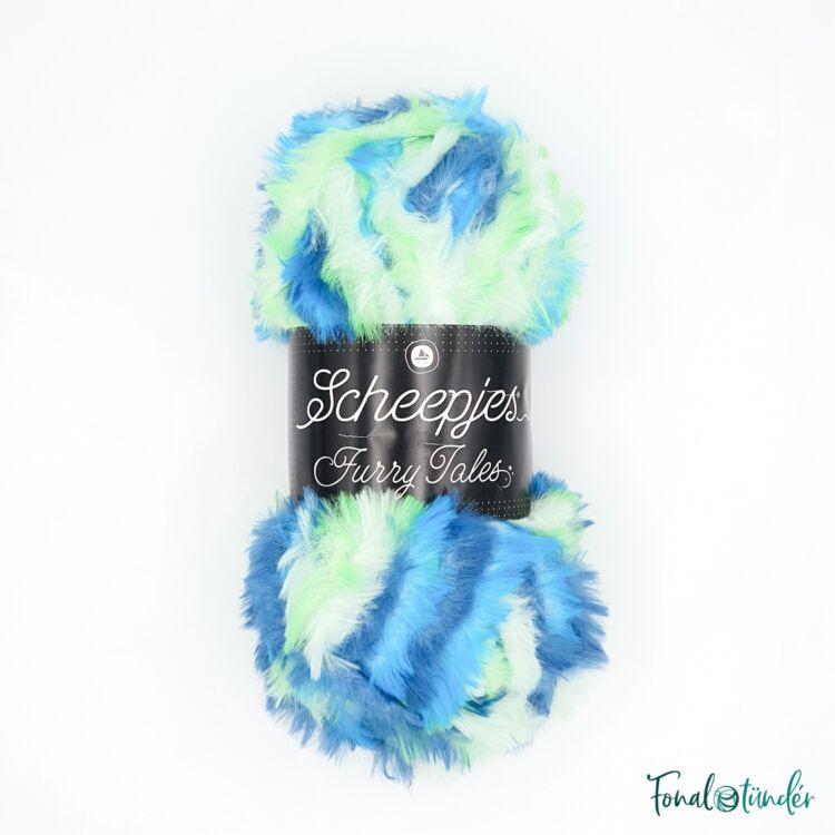 Scheepjes Furry Tales 990 Little Mermaid - kék-zöld bundás fonal - multi-colored fluffy yarn