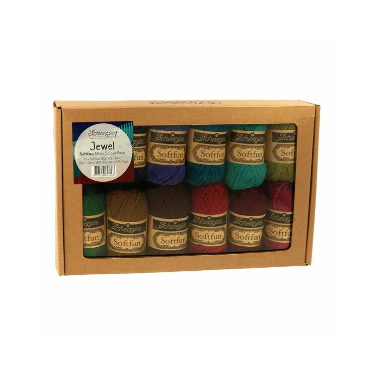 Scheepjes Softfun Color Pack - Jewel - 12 gombolyag fonal  - 12 balls of yarn